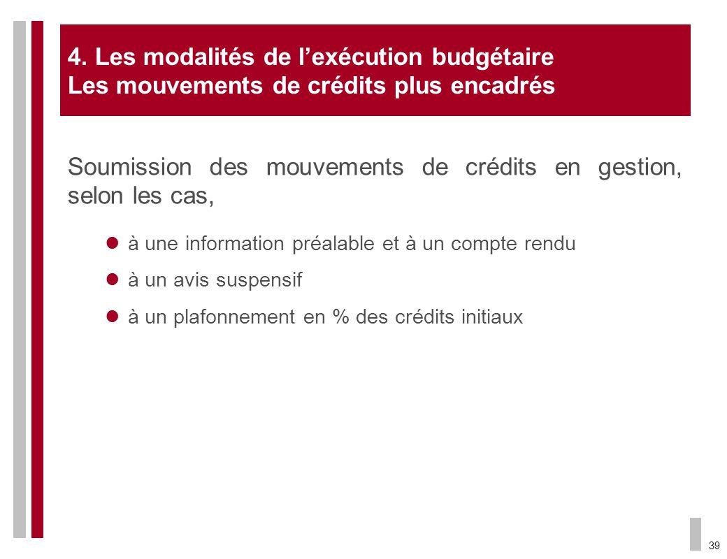 39 Soumission des mouvements de crédits en gestion, selon les cas, à une information préalable et à un compte rendu à un avis suspensif à un plafonnem
