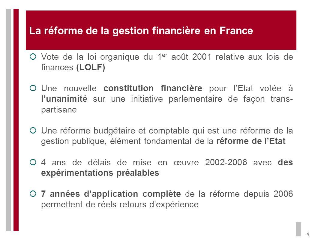 4 La réforme de la gestion financière en France Vote de la loi organique du 1 er août 2001 relative aux lois de finances (LOLF) Une nouvelle constitut