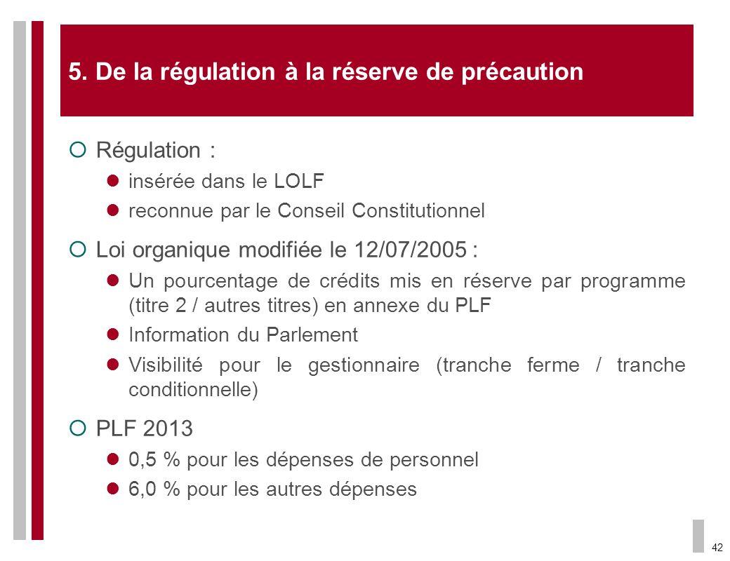 42 5. De la régulation à la réserve de précaution Régulation : insérée dans le LOLF reconnue par le Conseil Constitutionnel Loi organique modifiée le