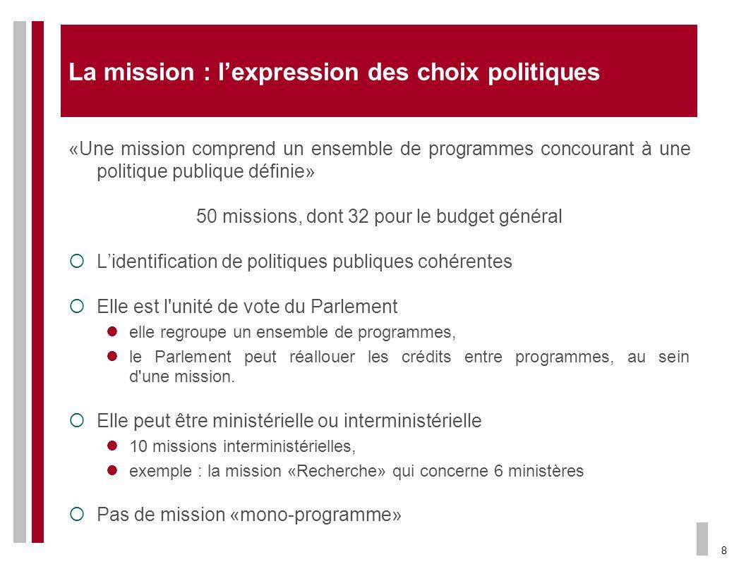 8 La mission : lexpression des choix politiques «Une mission comprend un ensemble de programmes concourant à une politique publique définie» 50 missio