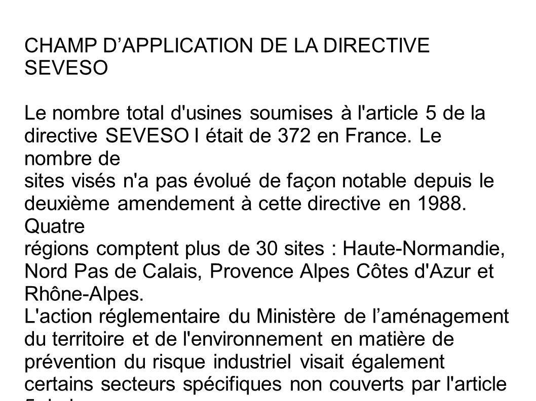 CHAMP DAPPLICATION DE LA DIRECTIVE SEVESO Le nombre total d'usines soumises à l'article 5 de la directive SEVESO I était de 372 en France. Le nombre d