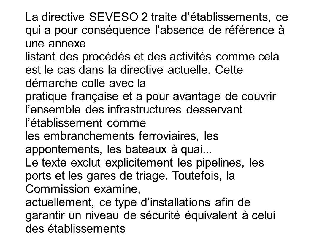 La directive SEVESO 2 traite détablissements, ce qui a pour conséquence labsence de référence à une annexe listant des procédés et des activités comme