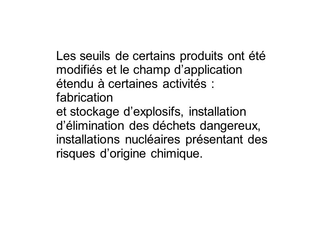 Les seuils de certains produits ont été modifiés et le champ dapplication étendu à certaines activités : fabrication et stockage dexplosifs, installat