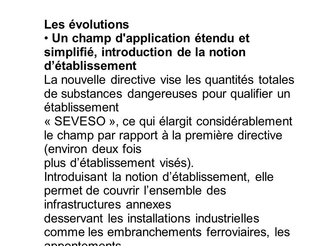 Les évolutions Un champ d'application étendu et simplifié, introduction de la notion détablissement La nouvelle directive vise les quantités totales d