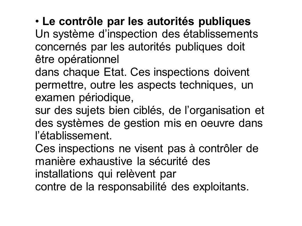 Le contrôle par les autorités publiques Un système dinspection des établissements concernés par les autorités publiques doit être opérationnel dans ch
