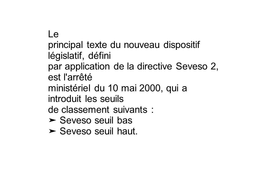 Le principal texte du nouveau dispositif législatif, défini par application de la directive Seveso 2, est l'arrêté ministériel du 10 mai 2000, qui a i