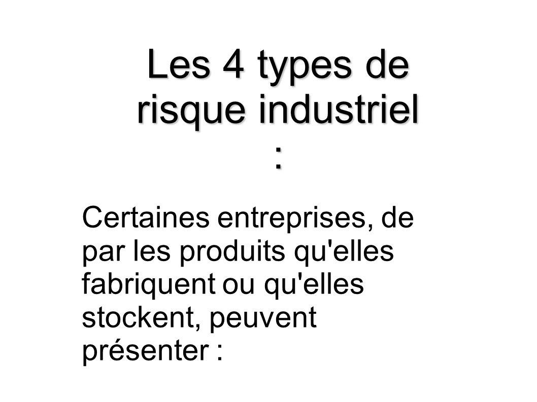 Les 4 types de risque industriel : Certaines entreprises, de par les produits qu'elles fabriquent ou qu'elles stockent, peuvent présenter :