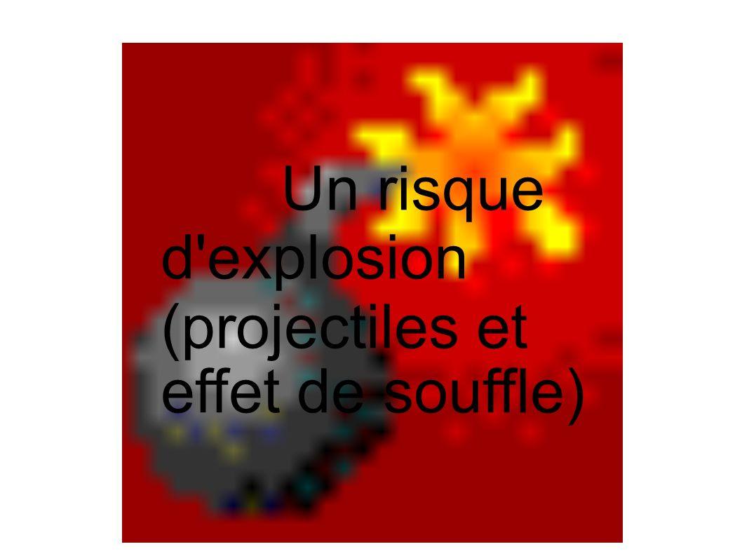 Un risque d'explosion (projectiles et effet de souffle)
