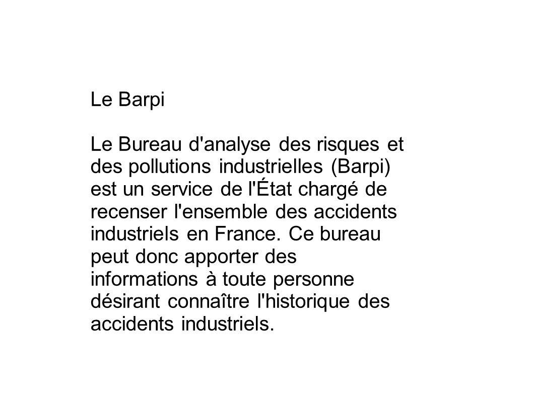 Le Barpi Le Bureau d'analyse des risques et des pollutions industrielles (Barpi) est un service de l'État chargé de recenser l'ensemble des accidents