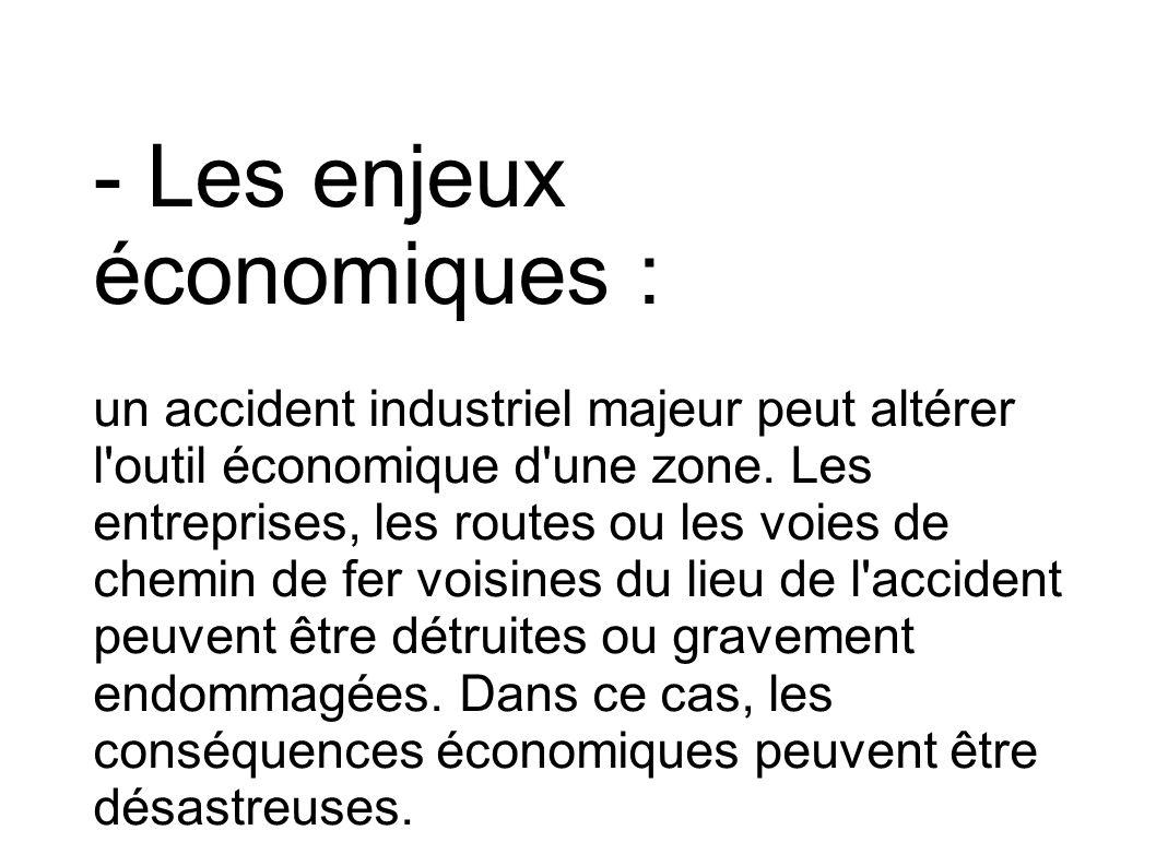 - Les enjeux économiques : un accident industriel majeur peut altérer l'outil économique d'une zone. Les entreprises, les routes ou les voies de chemi