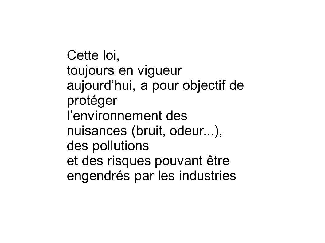 Cette loi, toujours en vigueur aujourdhui, a pour objectif de protéger lenvironnement des nuisances (bruit, odeur...), des pollutions et des risques p