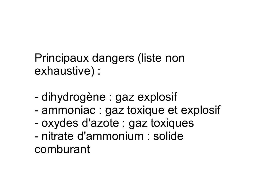 Principaux dangers (liste non exhaustive) : - dihydrogène : gaz explosif - ammoniac : gaz toxique et explosif - oxydes d'azote : gaz toxiques - nitrat