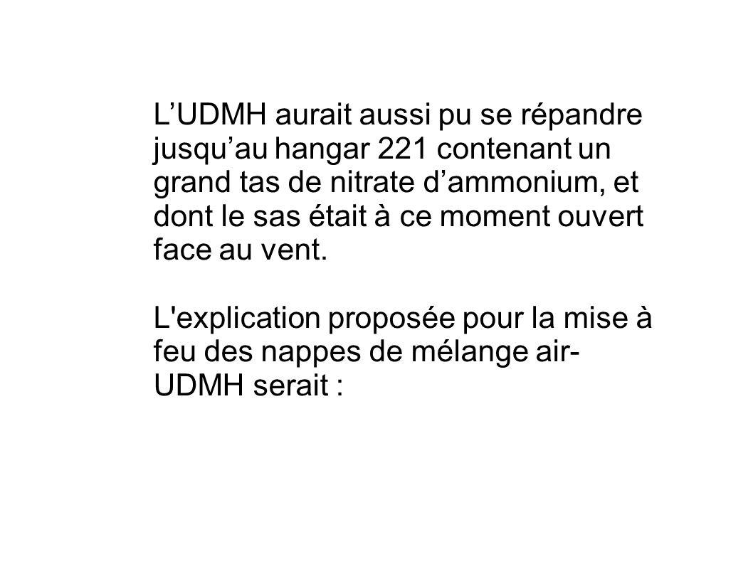 LUDMH aurait aussi pu se répandre jusquau hangar 221 contenant un grand tas de nitrate dammonium, et dont le sas était à ce moment ouvert face au vent