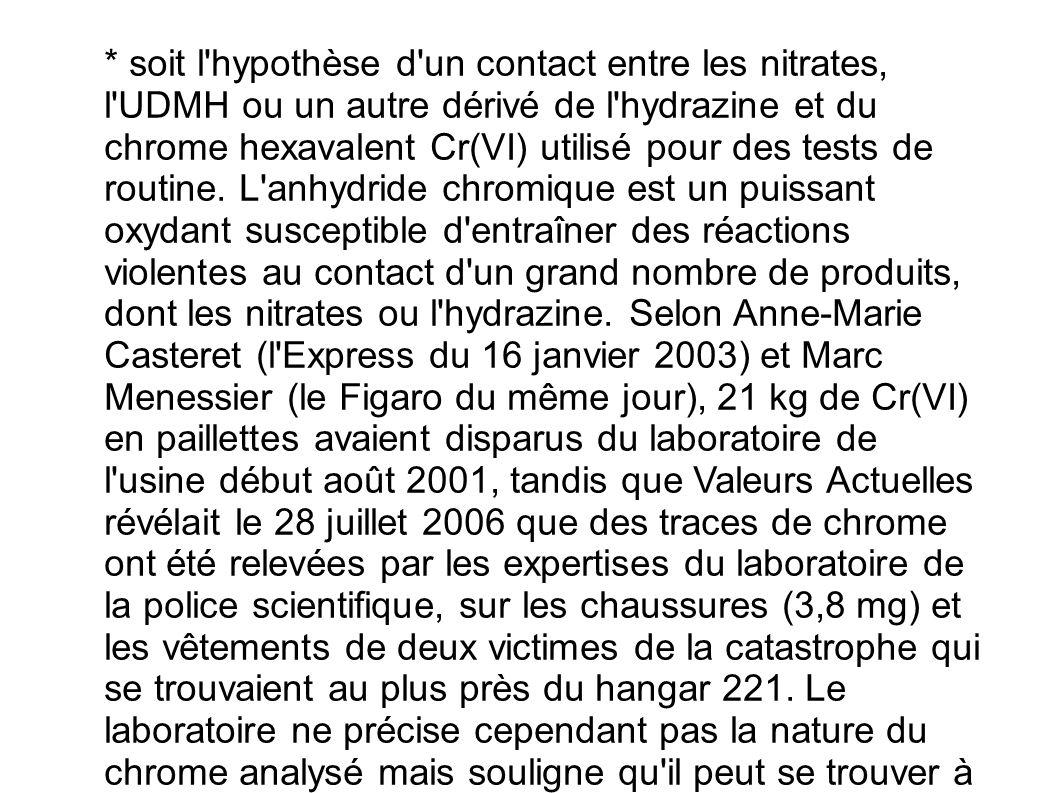 * soit l'hypothèse d'un contact entre les nitrates, l'UDMH ou un autre dérivé de l'hydrazine et du chrome hexavalent Cr(VI) utilisé pour des tests de