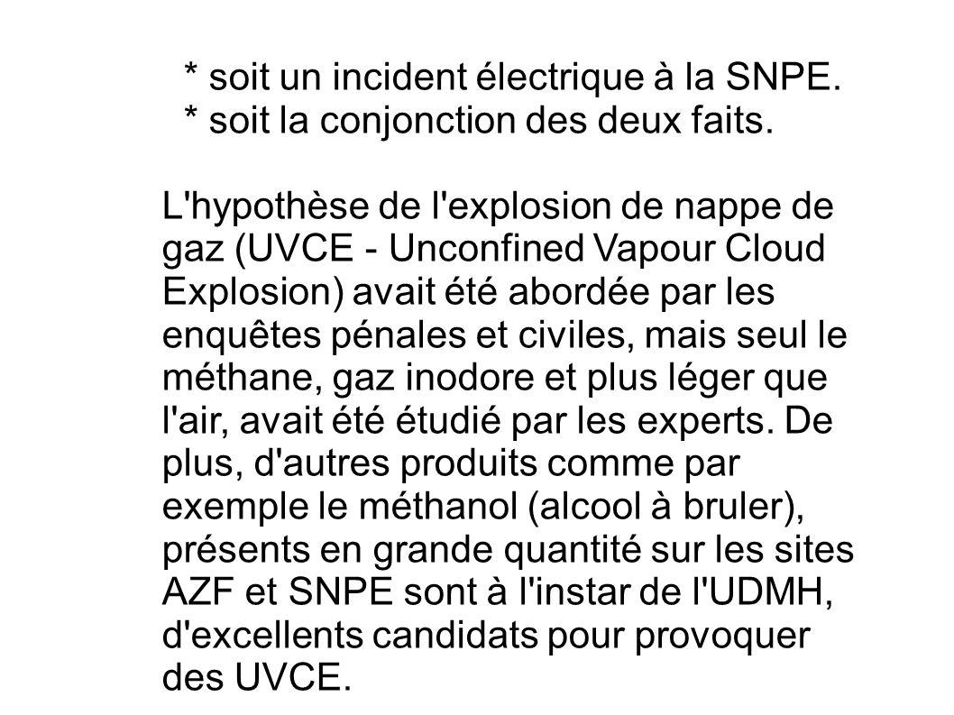 * soit un incident électrique à la SNPE. * soit la conjonction des deux faits. L'hypothèse de l'explosion de nappe de gaz (UVCE - Unconfined Vapour Cl