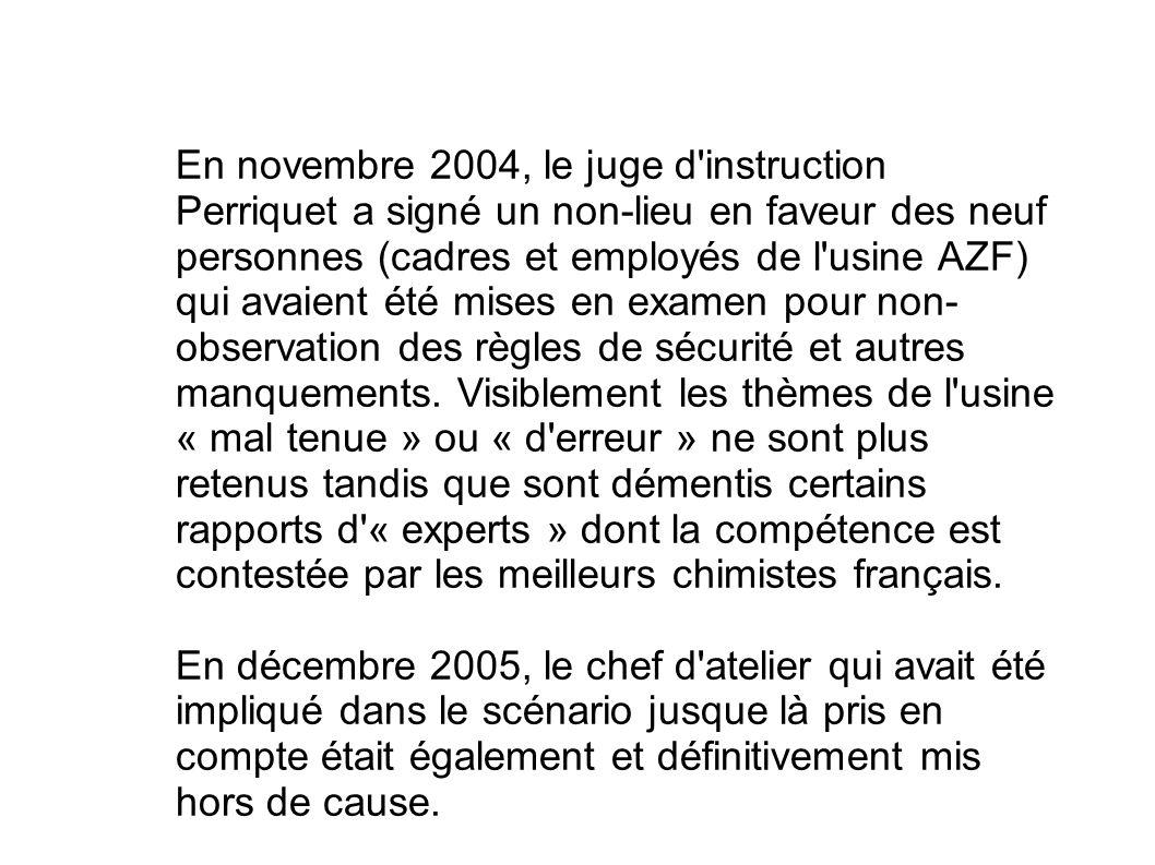 En novembre 2004, le juge d'instruction Perriquet a signé un non-lieu en faveur des neuf personnes (cadres et employés de l'usine AZF) qui avaient été