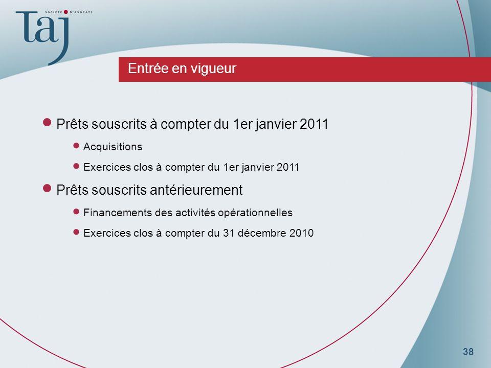 38 Entrée en vigueur Prêts souscrits à compter du 1er janvier 2011 Acquisitions Exercices clos à compter du 1er janvier 2011 Prêts souscrits antérieurement Financements des activités opérationnelles Exercices clos à compter du 31 décembre 2010