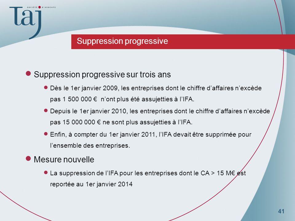 41 Suppression progressive Suppression progressive sur trois ans Dès le 1er janvier 2009, les entreprises dont le chiffre daffaires nexcède pas 1 500 000 nont plus été assujetties à lIFA.