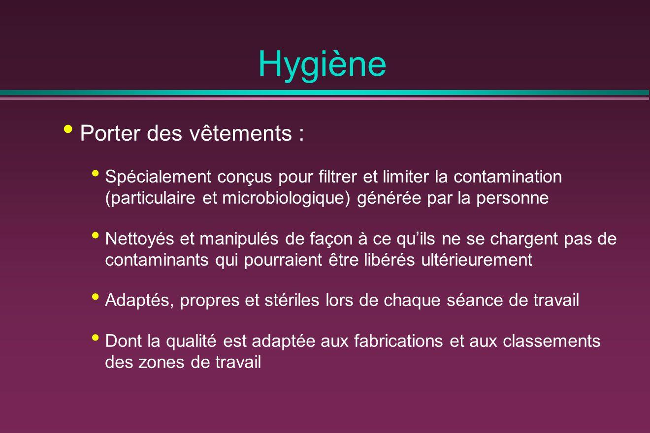 Hygiène Porter des vêtements : Spécialement conçus pour filtrer et limiter la contamination (particulaire et microbiologique) générée par la personne