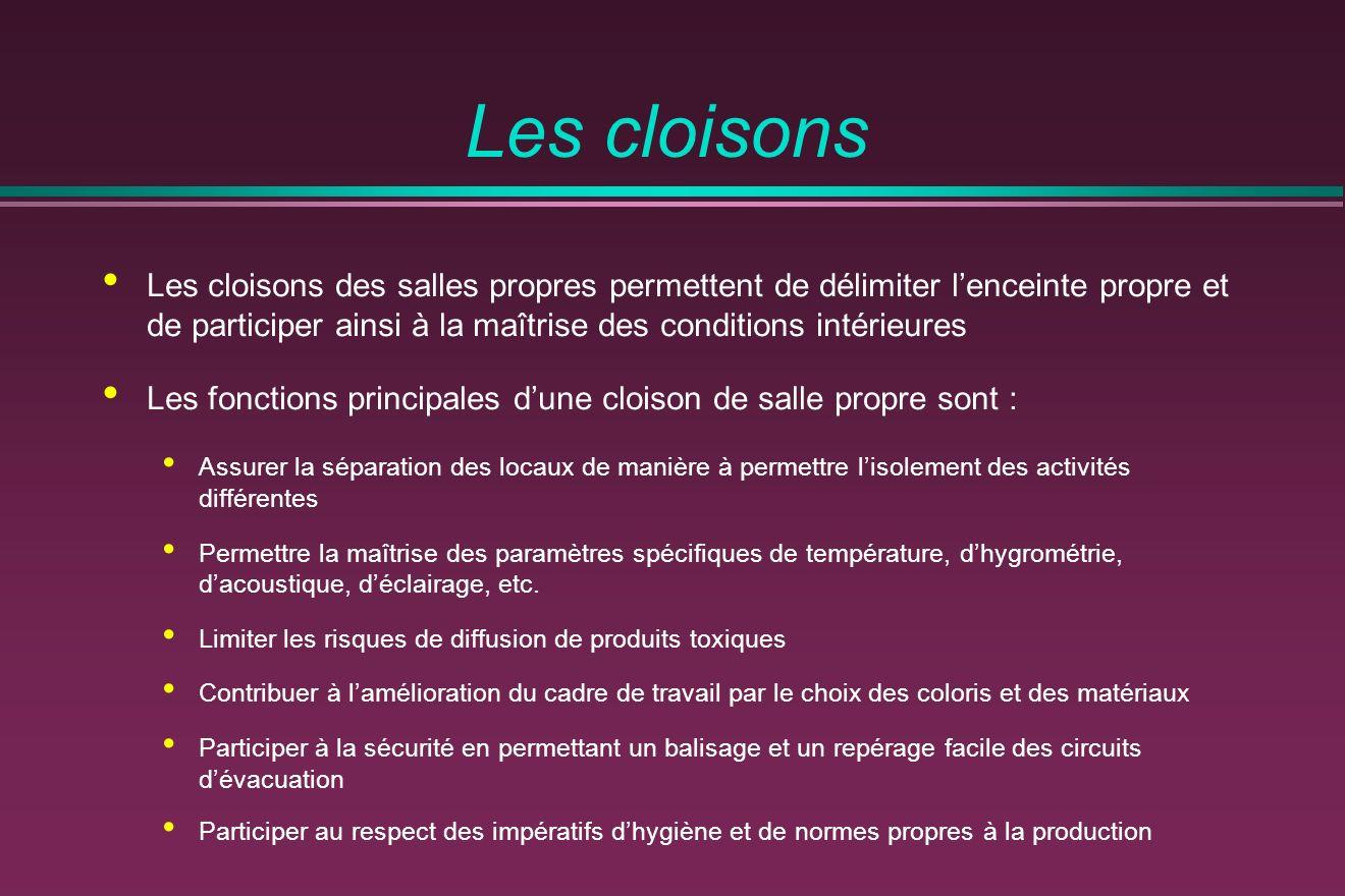 Les cloisons Les cloisons des salles propres permettent de délimiter lenceinte propre et de participer ainsi à la maîtrise des conditions intérieures