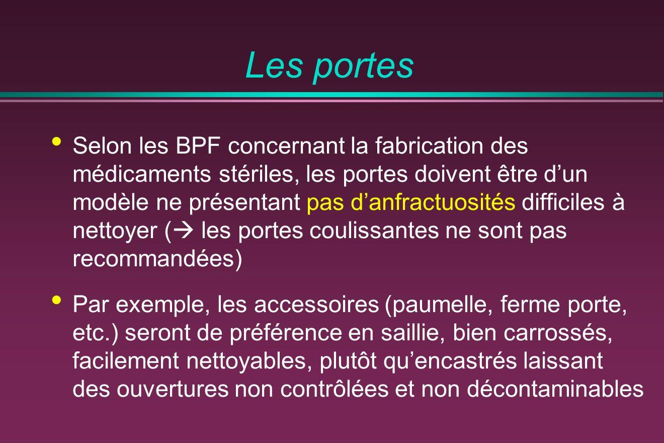 Les portes Selon les BPF concernant la fabrication des médicaments stériles, les portes doivent être dun modèle ne présentant pas danfractuosités diff