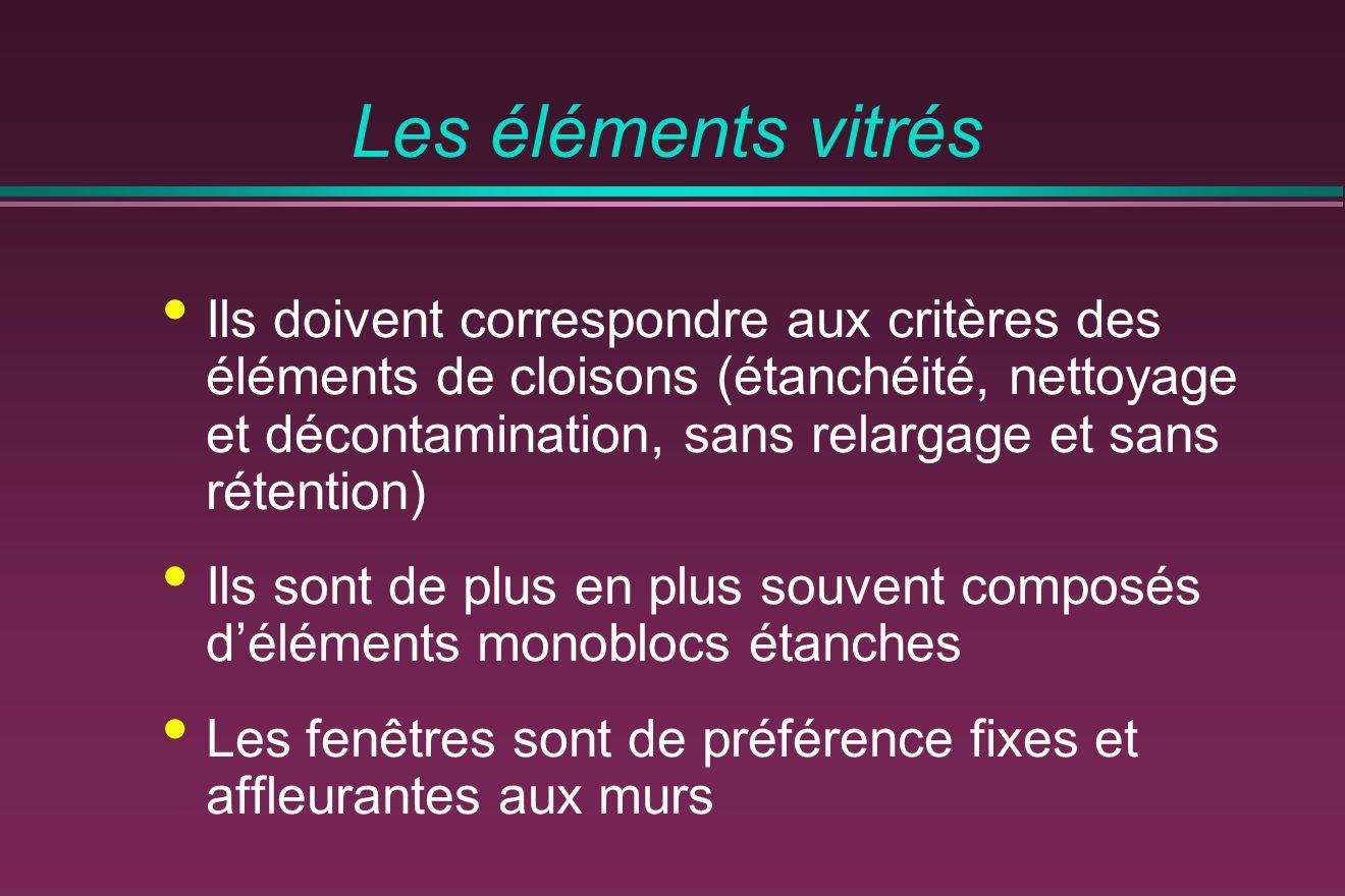 Les éléments vitrés Ils doivent correspondre aux critères des éléments de cloisons (étanchéité, nettoyage et décontamination, sans relargage et sans r