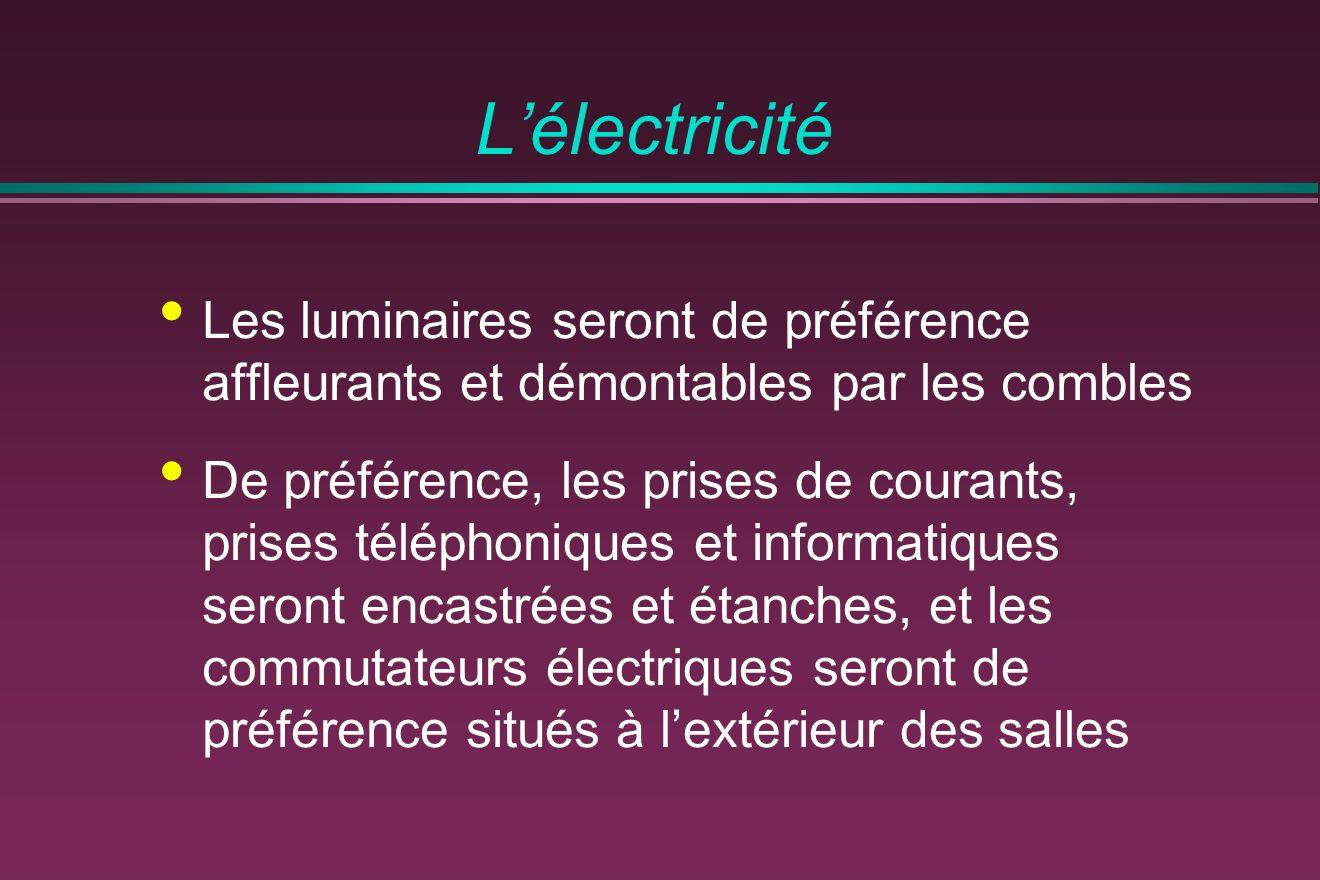Lélectricité Les luminaires seront de préférence affleurants et démontables par les combles De préférence, les prises de courants, prises téléphoniques et informatiques seront encastrées et étanches, et les commutateurs électriques seront de préférence situés à lextérieur des salles
