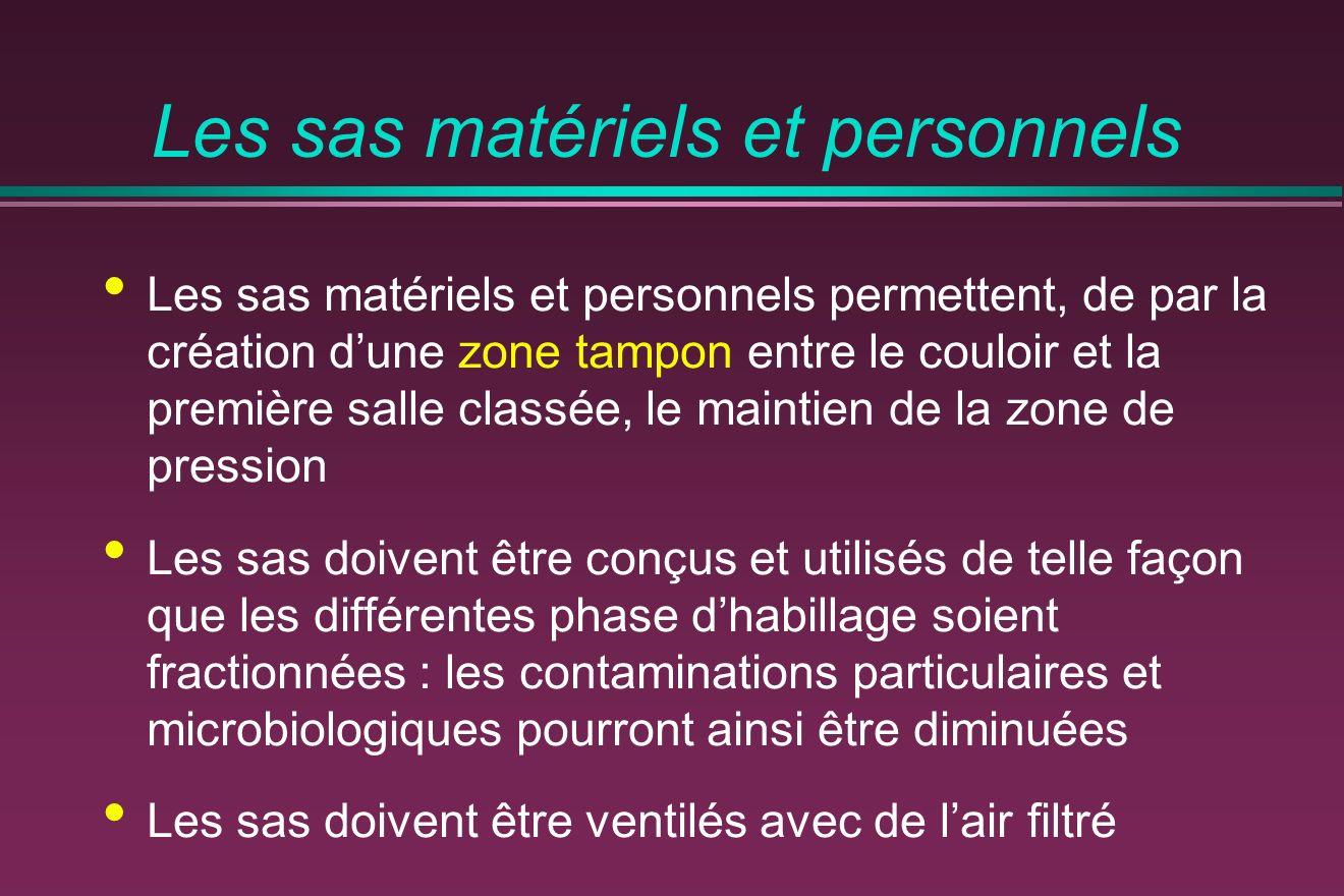 Les sas matériels et personnels Les sas matériels et personnels permettent, de par la création dune zone tampon entre le couloir et la première salle