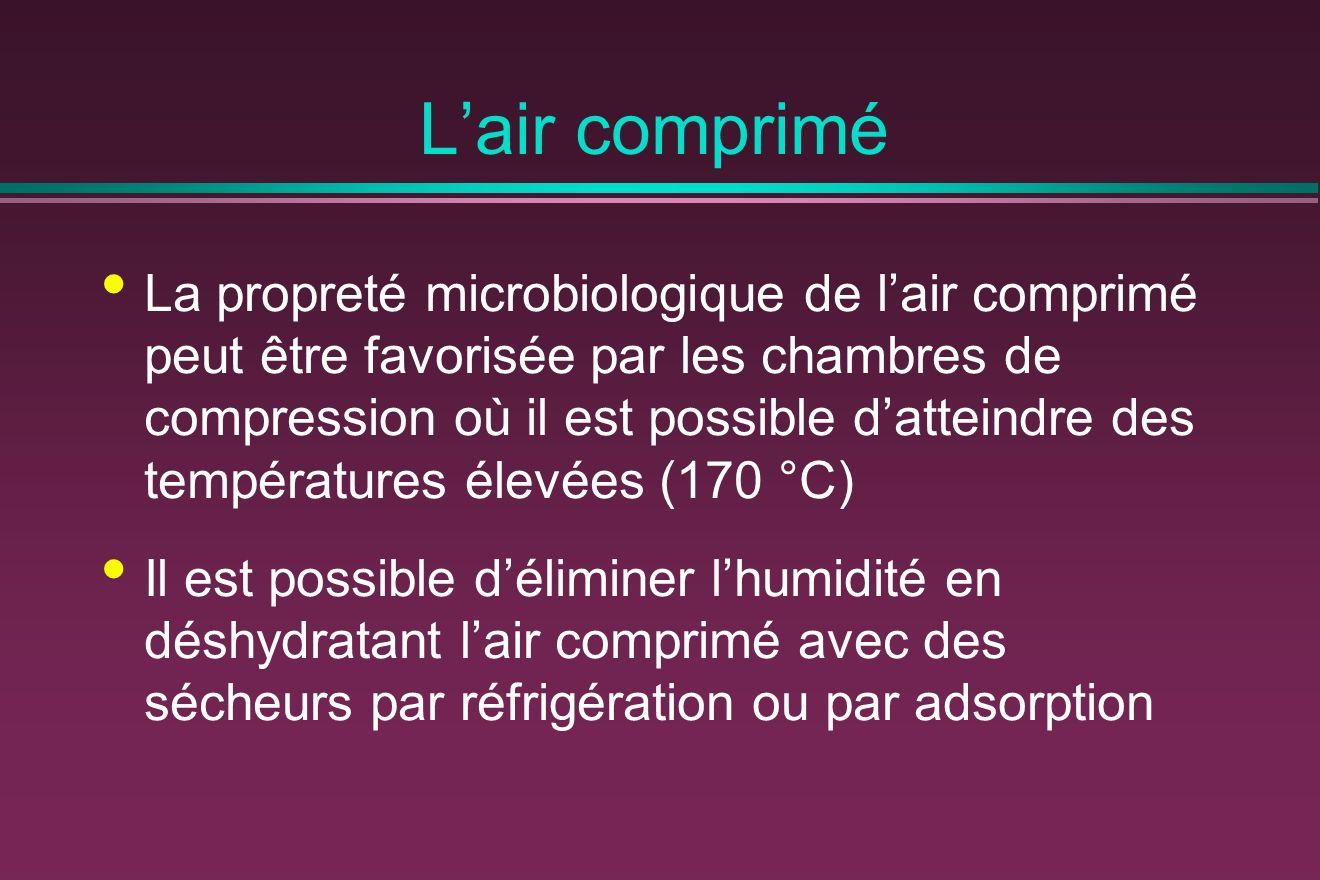 Lair comprimé La propreté microbiologique de lair comprimé peut être favorisée par les chambres de compression où il est possible datteindre des températures élevées (170 °C) Il est possible déliminer lhumidité en déshydratant lair comprimé avec des sécheurs par réfrigération ou par adsorption