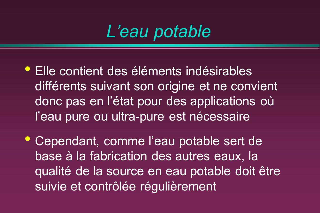 Leau potable Elle contient des éléments indésirables différents suivant son origine et ne convient donc pas en létat pour des applications où leau pur