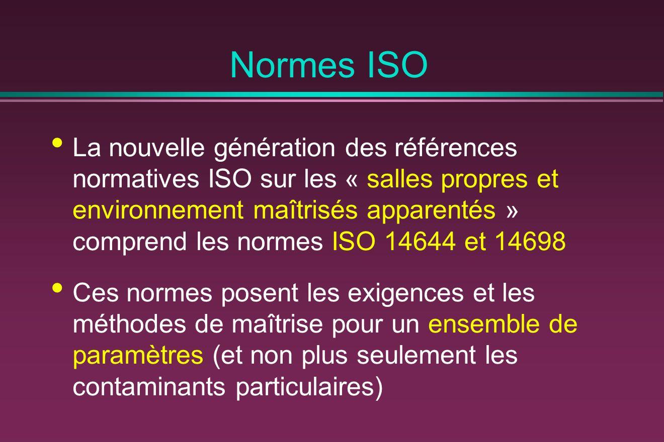 Normes ISO La nouvelle génération des références normatives ISO sur les « salles propres et environnement maîtrisés apparentés » comprend les normes ISO 14644 et 14698 Ces normes posent les exigences et les méthodes de maîtrise pour un ensemble de paramètres (et non plus seulement les contaminants particulaires)