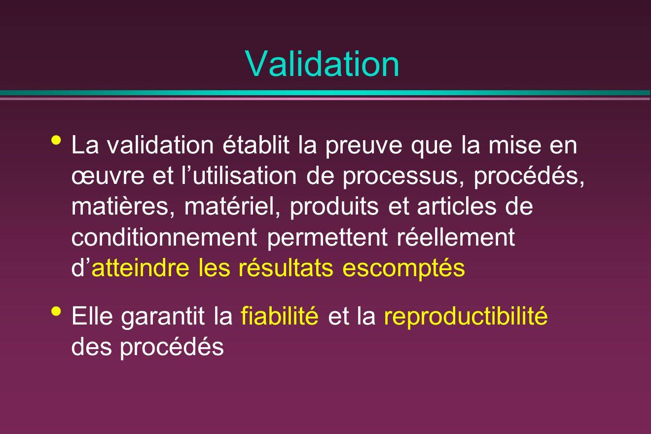 Validation La validation établit la preuve que la mise en œuvre et lutilisation de processus, procédés, matières, matériel, produits et articles de conditionnement permettent réellement datteindre les résultats escomptés Elle garantit la fiabilité et la reproductibilité des procédés