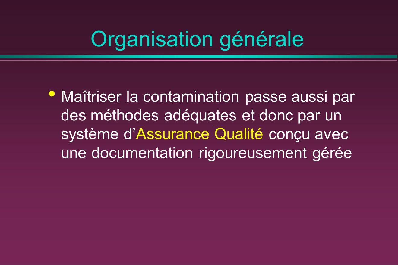 Organisation générale Maîtriser la contamination passe aussi par des méthodes adéquates et donc par un système dAssurance Qualité conçu avec une documentation rigoureusement gérée