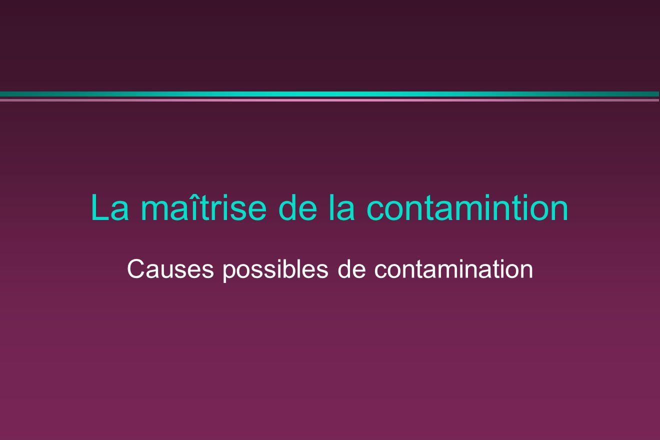 La maîtrise de la contamintion Causes possibles de contamination