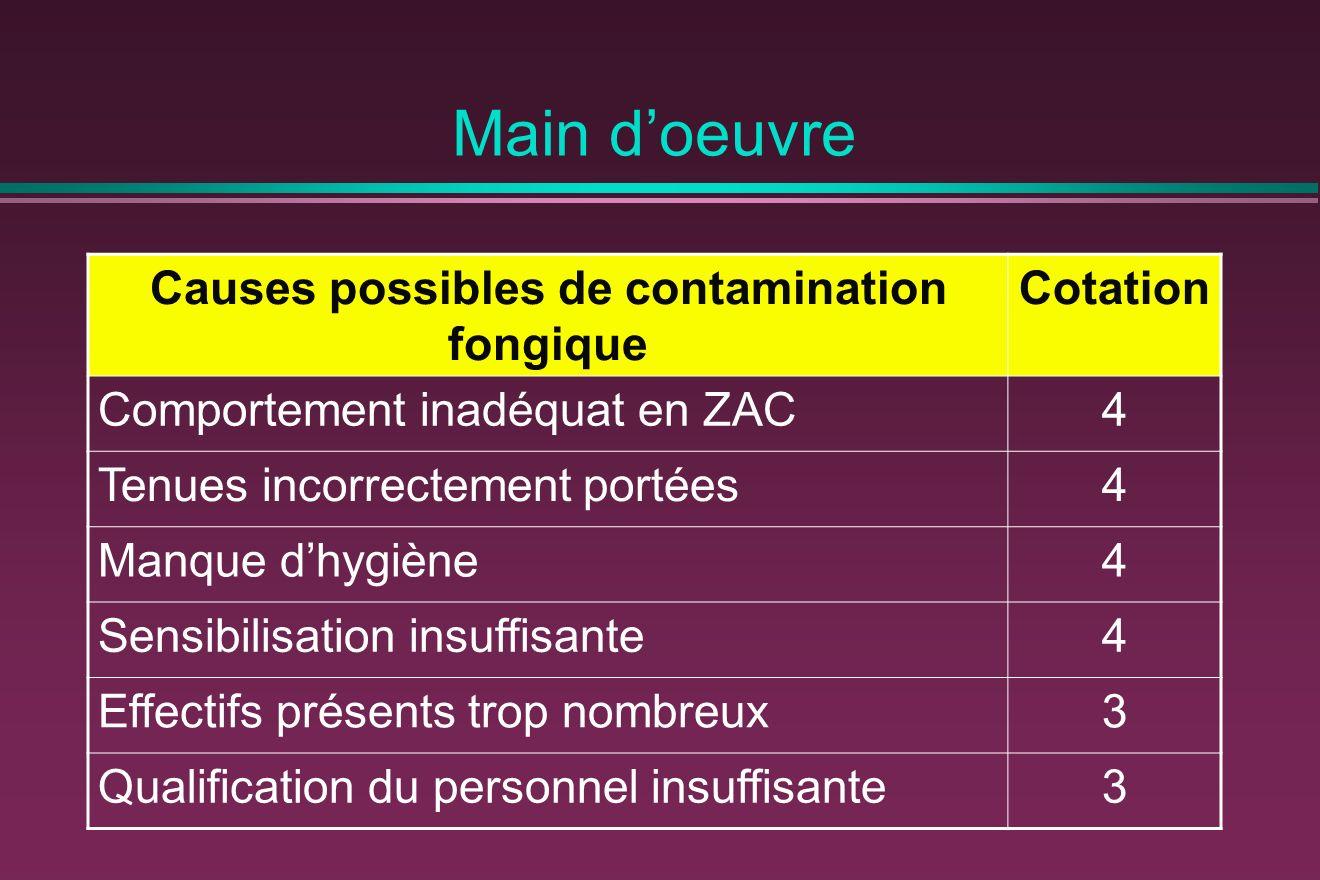 Main doeuvre Causes possibles de contamination fongique Cotation Comportement inadéquat en ZAC4 Tenues incorrectement portées4 Manque dhygiène4 Sensib