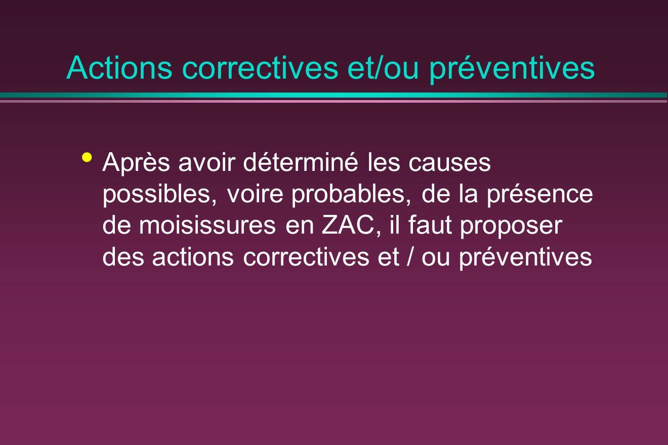 Après avoir déterminé les causes possibles, voire probables, de la présence de moisissures en ZAC, il faut proposer des actions correctives et / ou pr
