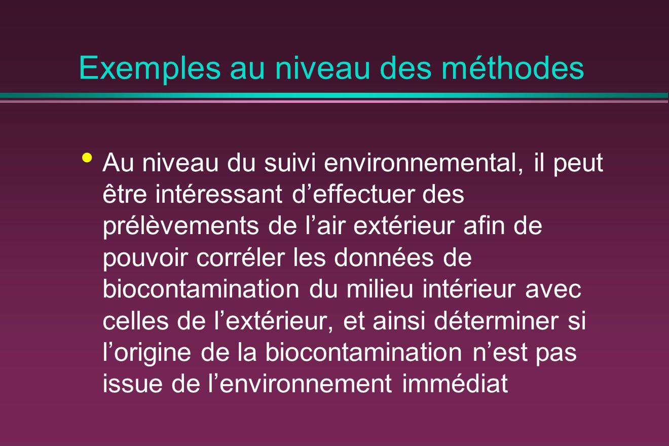 Exemples au niveau des méthodes Au niveau du suivi environnemental, il peut être intéressant deffectuer des prélèvements de lair extérieur afin de pouvoir corréler les données de biocontamination du milieu intérieur avec celles de lextérieur, et ainsi déterminer si lorigine de la biocontamination nest pas issue de lenvironnement immédiat