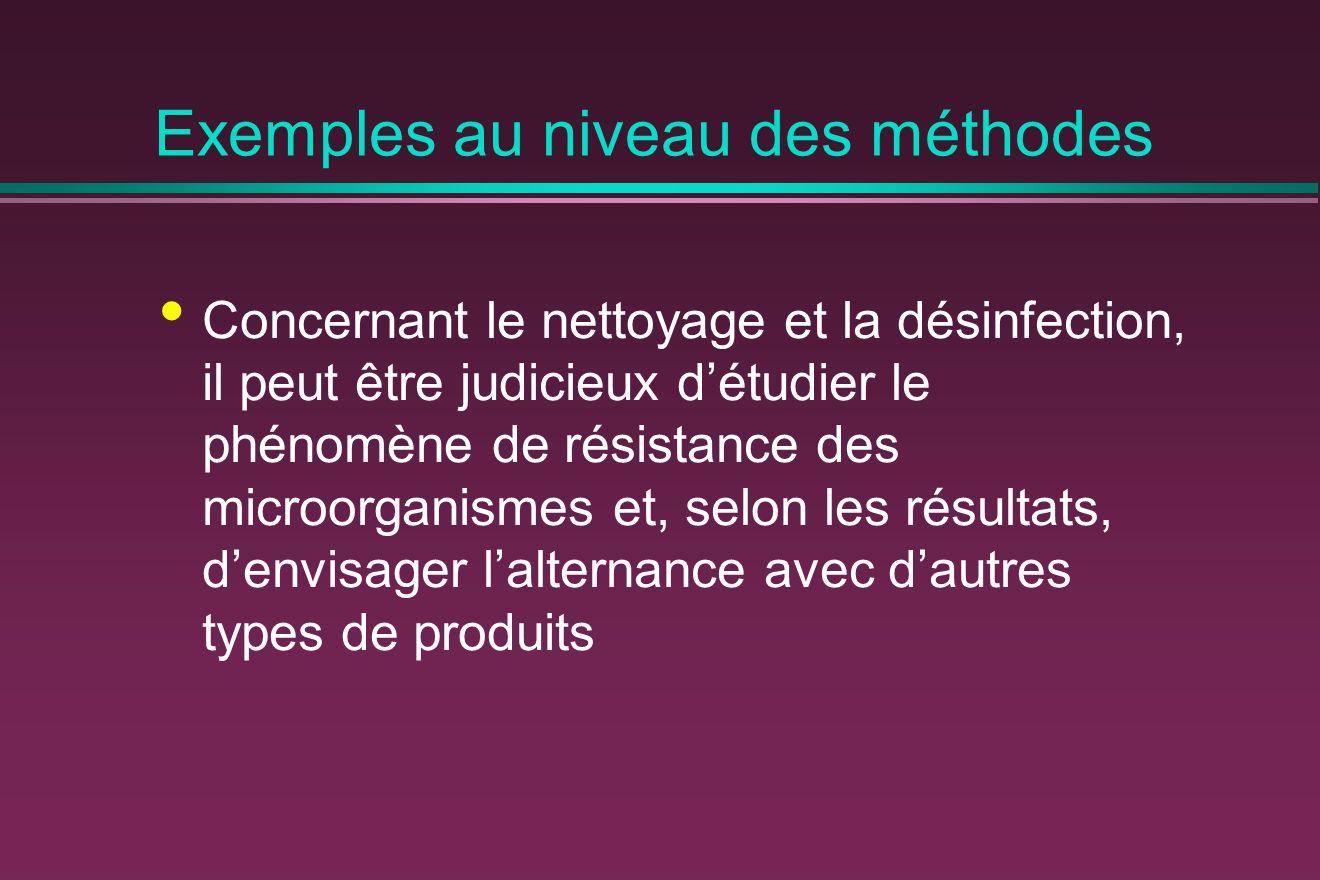Exemples au niveau des méthodes Concernant le nettoyage et la désinfection, il peut être judicieux détudier le phénomène de résistance des microorganismes et, selon les résultats, denvisager lalternance avec dautres types de produits