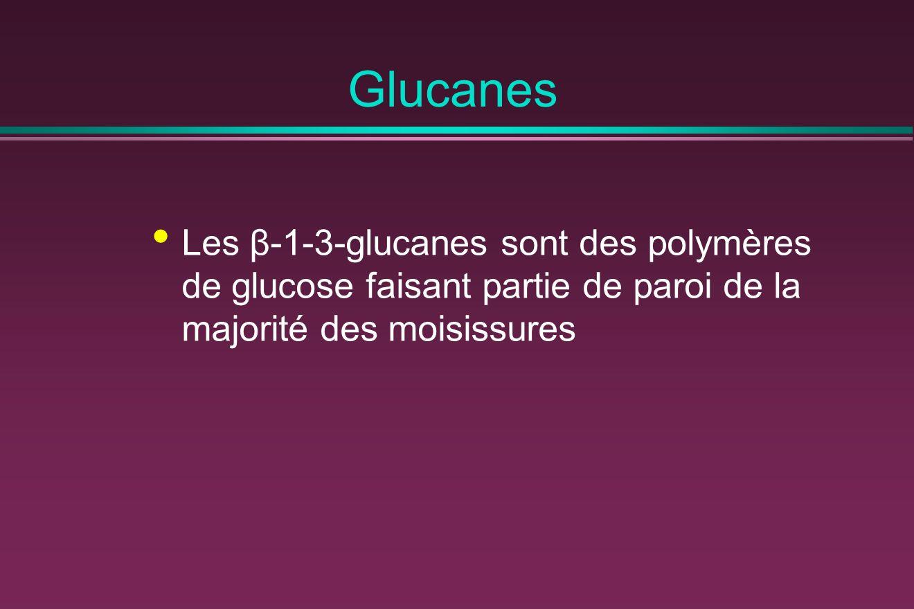 Glucanes Les β-1-3-glucanes sont des polymères de glucose faisant partie de paroi de la majorité des moisissures