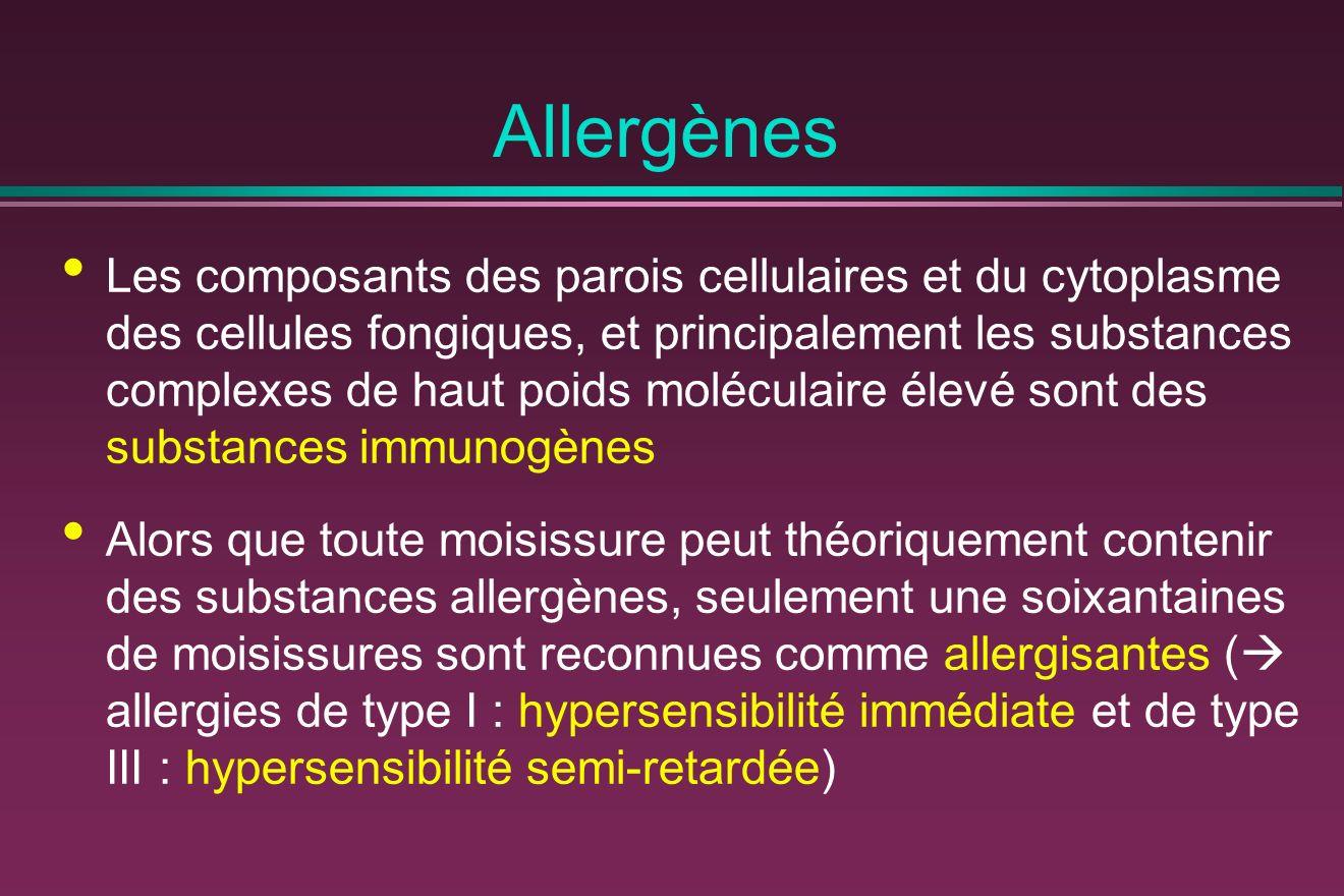Allergènes Les composants des parois cellulaires et du cytoplasme des cellules fongiques, et principalement les substances complexes de haut poids mol