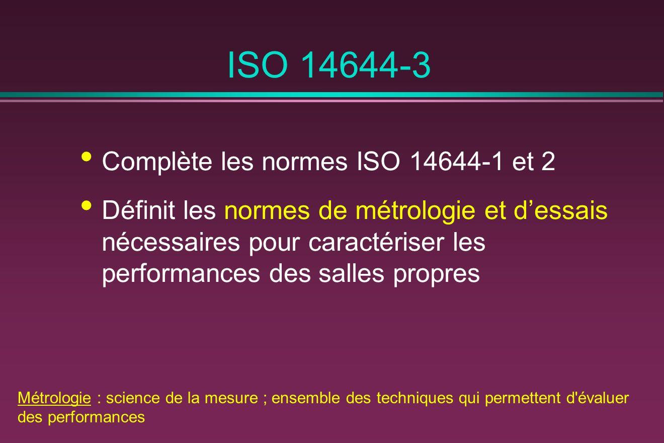 ISO 14644-3 Complète les normes ISO 14644-1 et 2 Définit les normes de métrologie et dessais nécessaires pour caractériser les performances des salles propres Métrologie : science de la mesure ; ensemble des techniques qui permettent d évaluer des performances