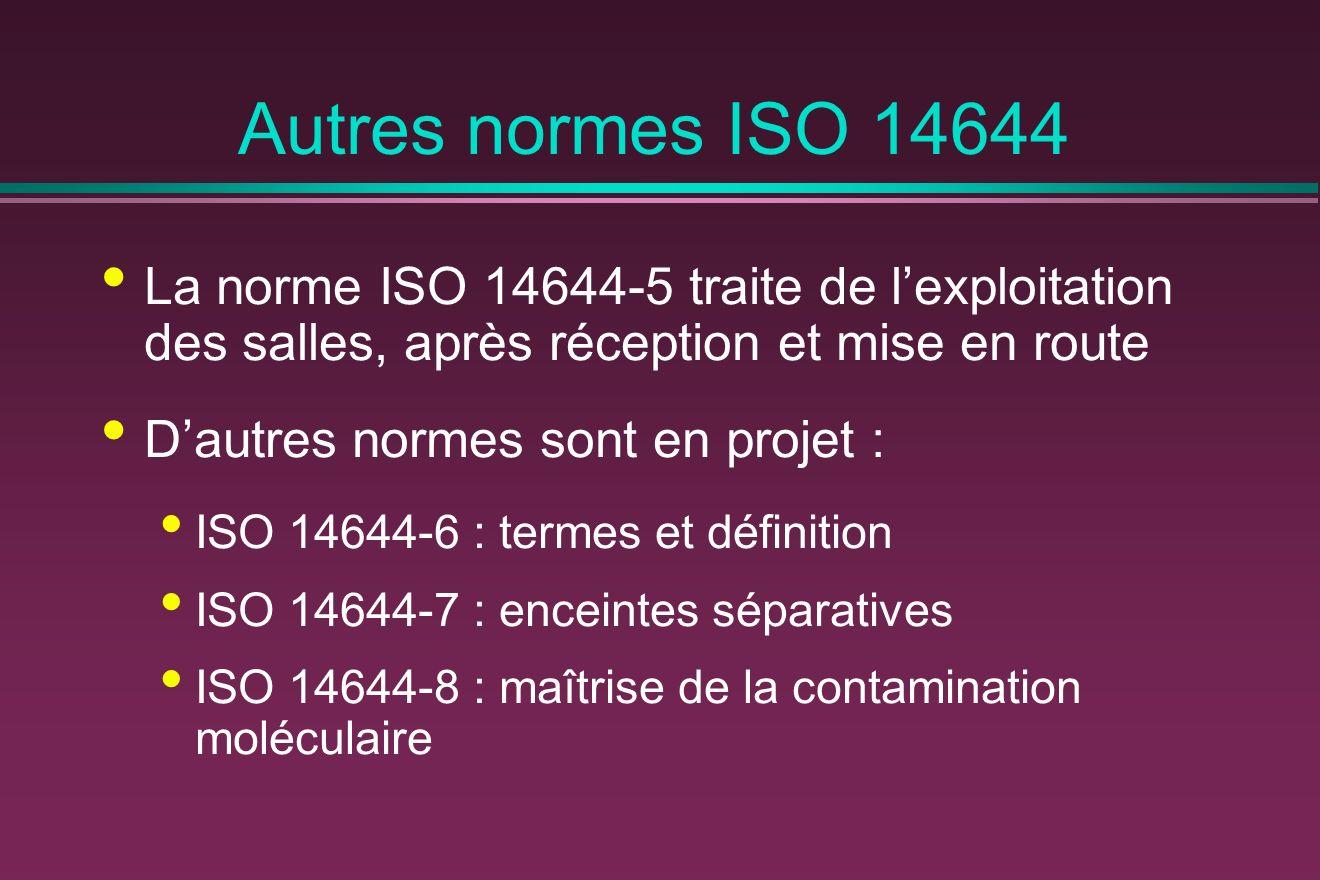 Autres normes ISO 14644 La norme ISO 14644-5 traite de lexploitation des salles, après réception et mise en route Dautres normes sont en projet : ISO 14644-6 : termes et définition ISO 14644-7 : enceintes séparatives ISO 14644-8 : maîtrise de la contamination moléculaire