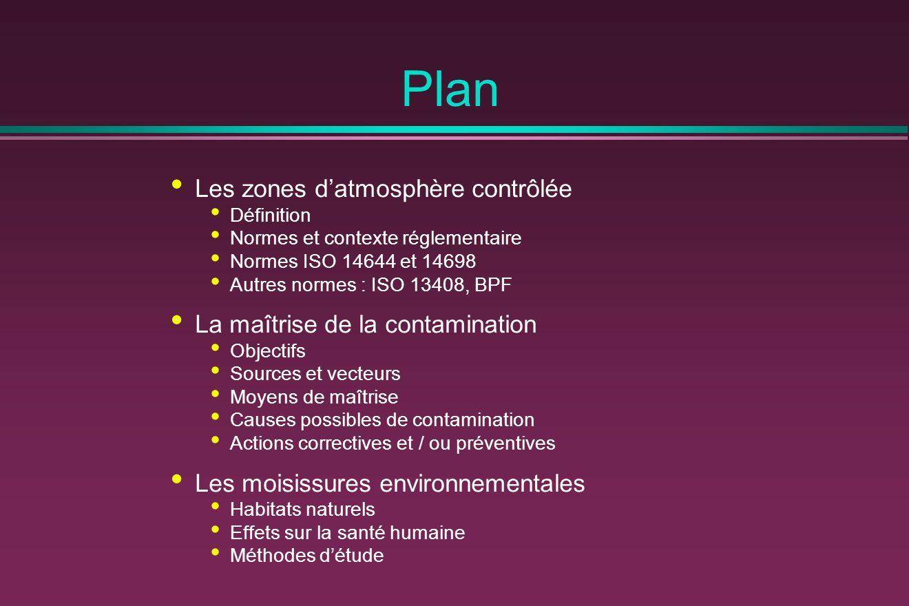 Plan Les zones datmosphère contrôlée Définition Normes et contexte réglementaire Normes ISO 14644 et 14698 Autres normes : ISO 13408, BPF La maîtrise