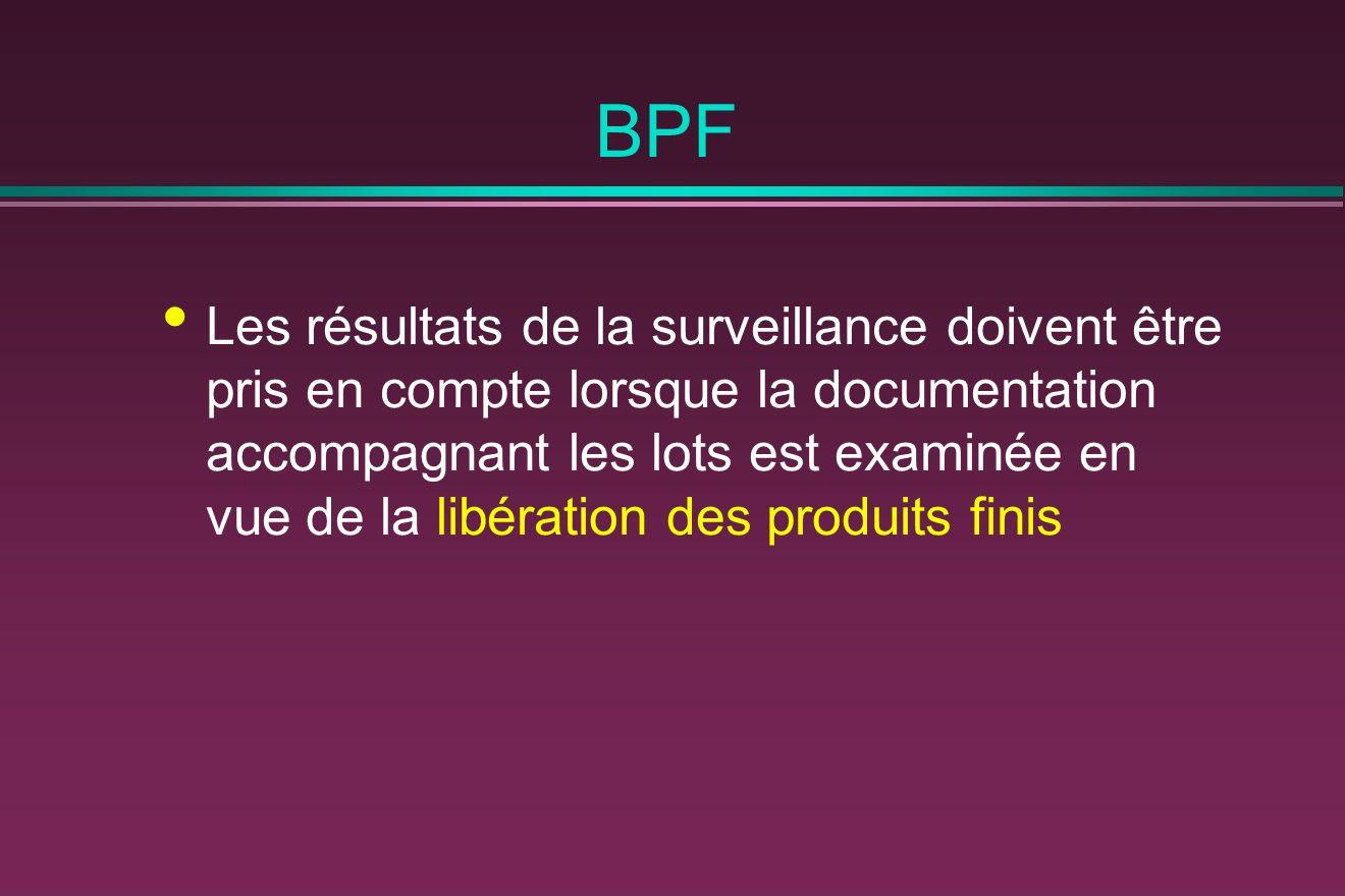 BPF Les résultats de la surveillance doivent être pris en compte lorsque la documentation accompagnant les lots est examinée en vue de la libération des produits finis