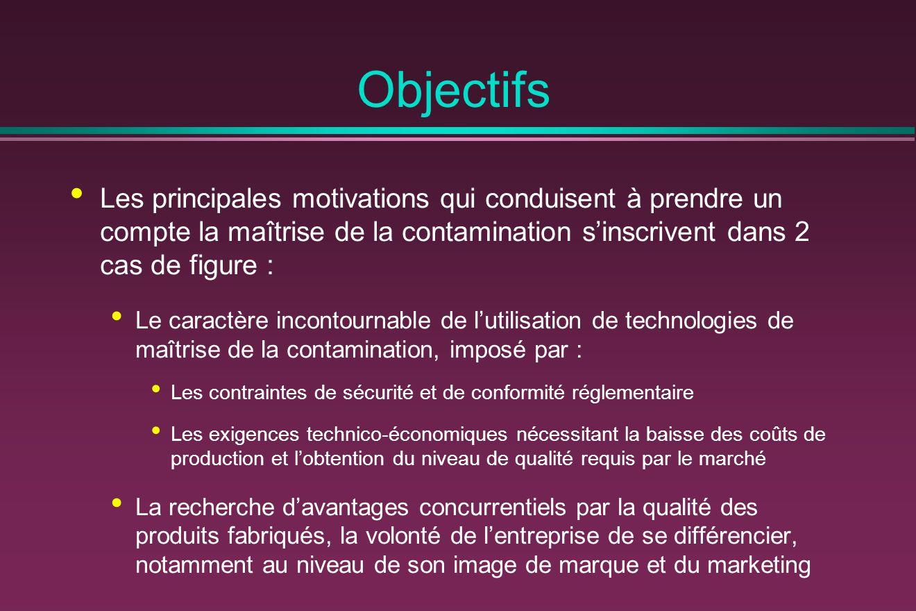Objectifs Les principales motivations qui conduisent à prendre un compte la maîtrise de la contamination sinscrivent dans 2 cas de figure : Le caractè