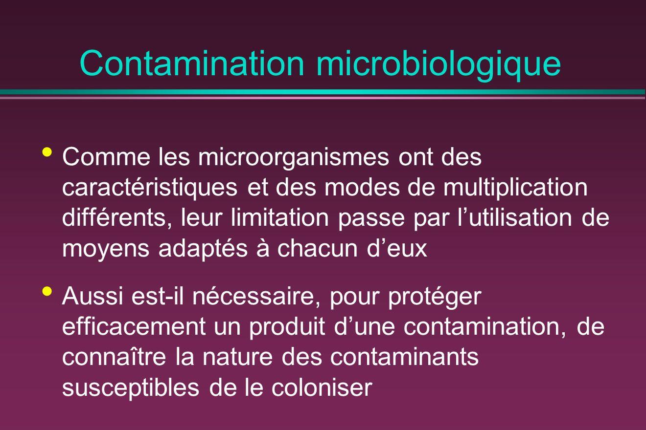 Contamination microbiologique Comme les microorganismes ont des caractéristiques et des modes de multiplication différents, leur limitation passe par lutilisation de moyens adaptés à chacun deux Aussi est-il nécessaire, pour protéger efficacement un produit dune contamination, de connaître la nature des contaminants susceptibles de le coloniser