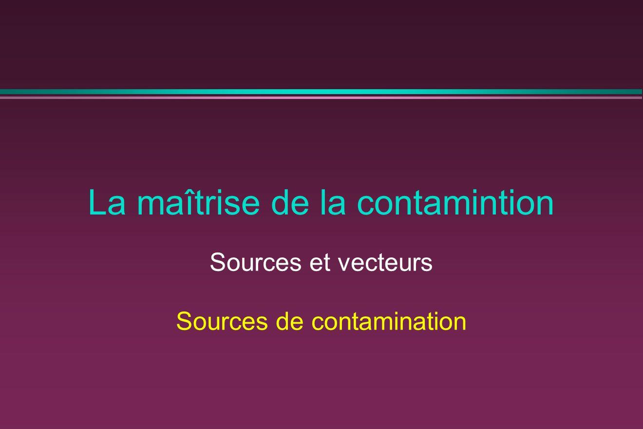 La maîtrise de la contamintion Sources et vecteurs Sources de contamination