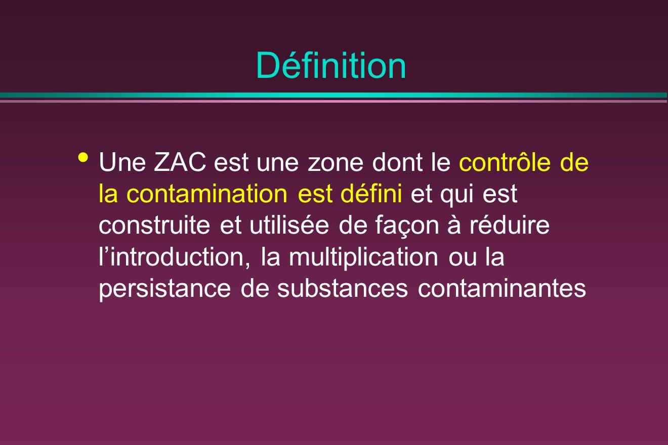 Définition Une ZAC est une zone dont le contrôle de la contamination est défini et qui est construite et utilisée de façon à réduire lintroduction, la multiplication ou la persistance de substances contaminantes