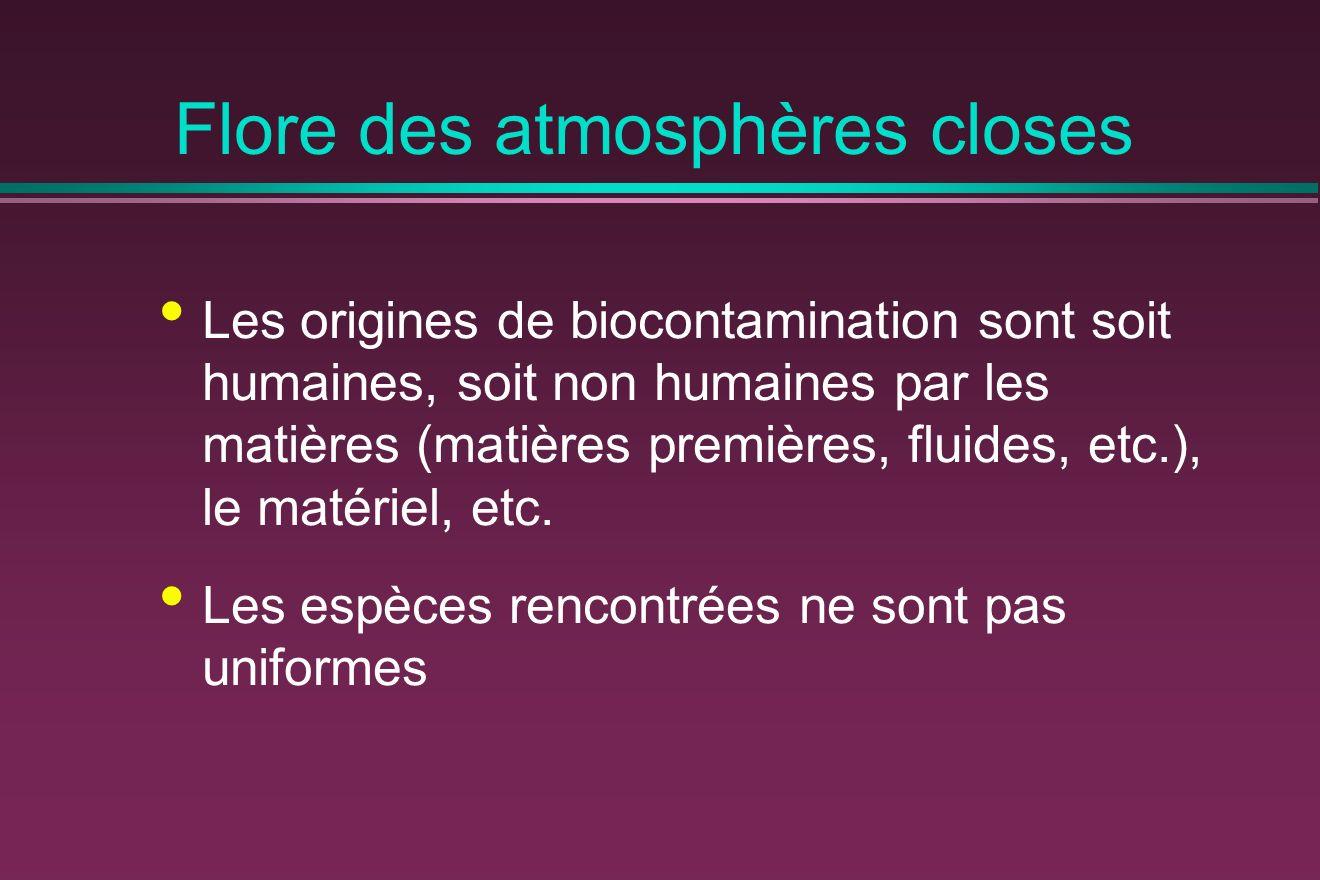 Flore des atmosphères closes Les origines de biocontamination sont soit humaines, soit non humaines par les matières (matières premières, fluides, etc.), le matériel, etc.