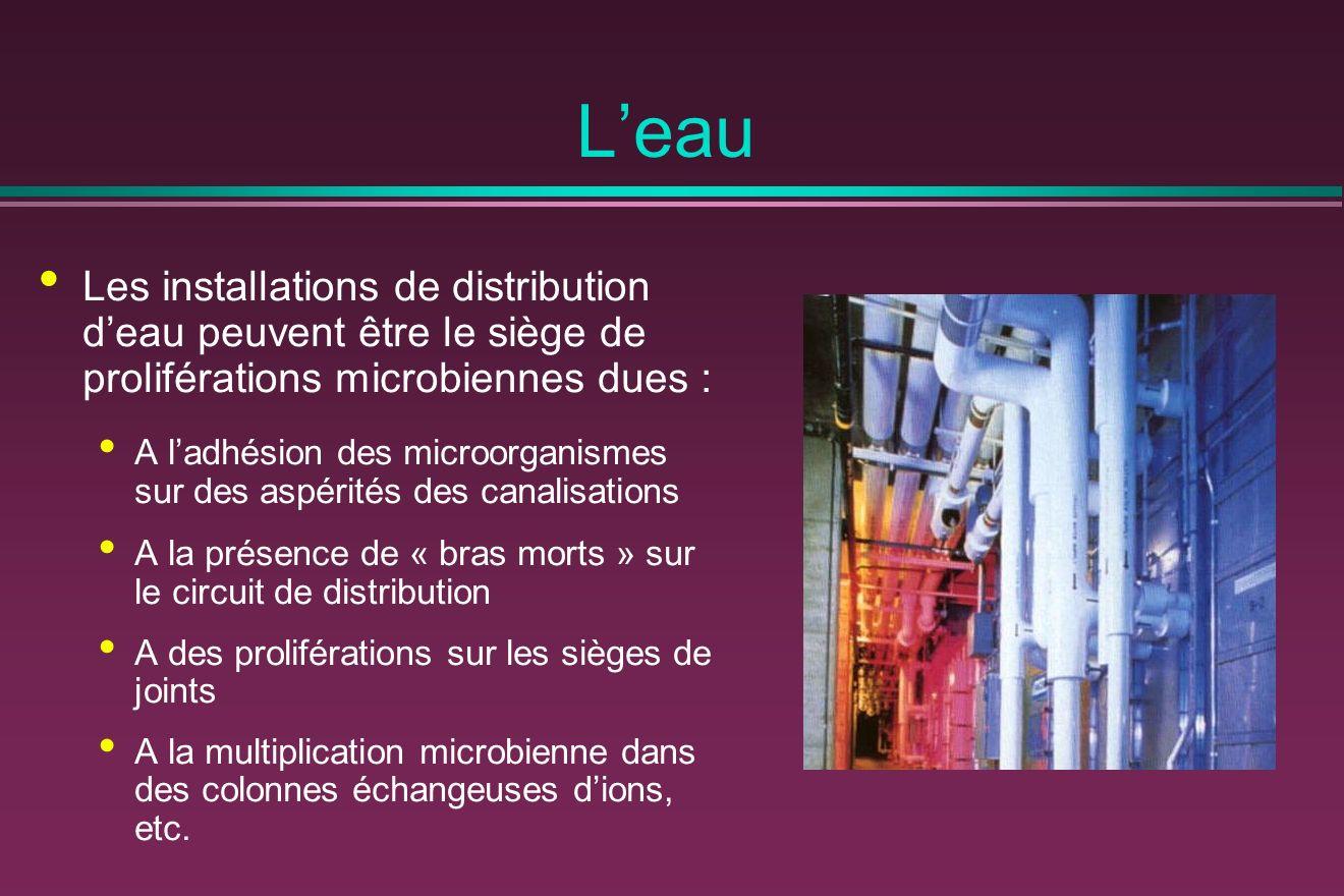 Leau Les installations de distribution deau peuvent être le siège de proliférations microbiennes dues : A ladhésion des microorganismes sur des aspéri